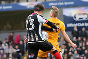 Grimsby Town midfielder Andrew Fox (23) and Port Vale midfielder Ben Whitfield (31) battles for possession  during the EFL Sky Bet League 2 match between Grimsby Town FC and Port Vale at Blundell Park, Grimsby, United Kingdom on 10 March 2018. Picture by Mick Atkins.