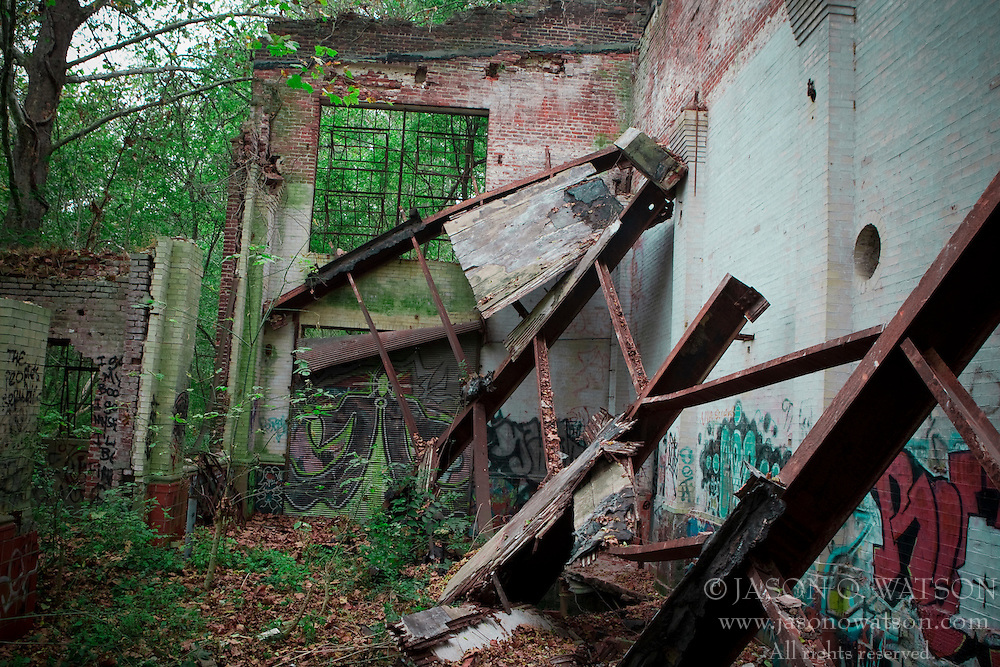 The abandoned Charlottesville Woolen Mills site is covered in graffiti, Charlottesville, VA.