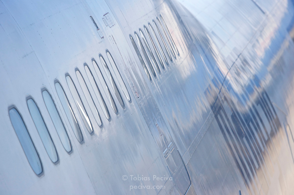 Detail of a Malaysia Airlines Boeing 747.