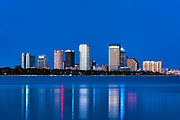 Tampa skyline across Hillsborough Bay, Tampa, Florida, USA