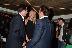 Left to right, JAMIE MURRAY -WELLS, SOPHIE CROSS and THOMAS VAN STRAUBENZEE at the launch of Geisha at Ramusake hosted by Piers Adam and Marc Burton at Ramusake, 92B Old Brompton Road, London on 11th June 2015.