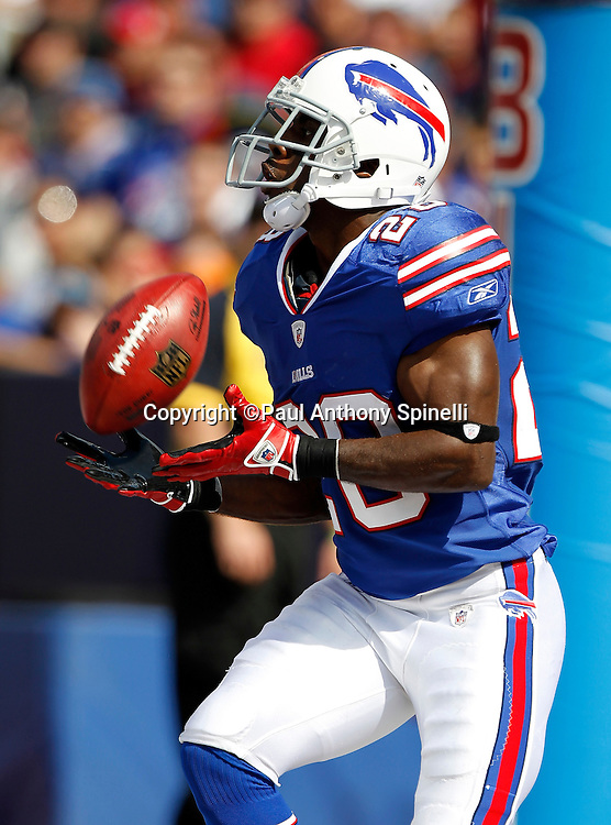 Buffalo Bills running back C.J. Spiller (28) catches a kickoff during the NFL week 3 football game against the New England Patriots on Sunday, September 25, 2011 in Orchard Park, New York. The Bills won the game 34-31. ©Paul Anthony Spinelli