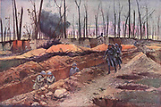 First World War battlefield scene, 1918.  French trenches on the summit of Mont Renaud against a background of the remains of a wood with silhoutted tree trunks stripped of leaves and branches.  After the painting by Francois Flameng (1856-1923).