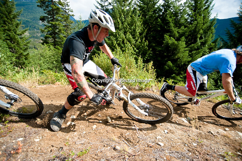 Team X-Fusion riders Thrill Me Kill Me trail in Whistler, British Columbia