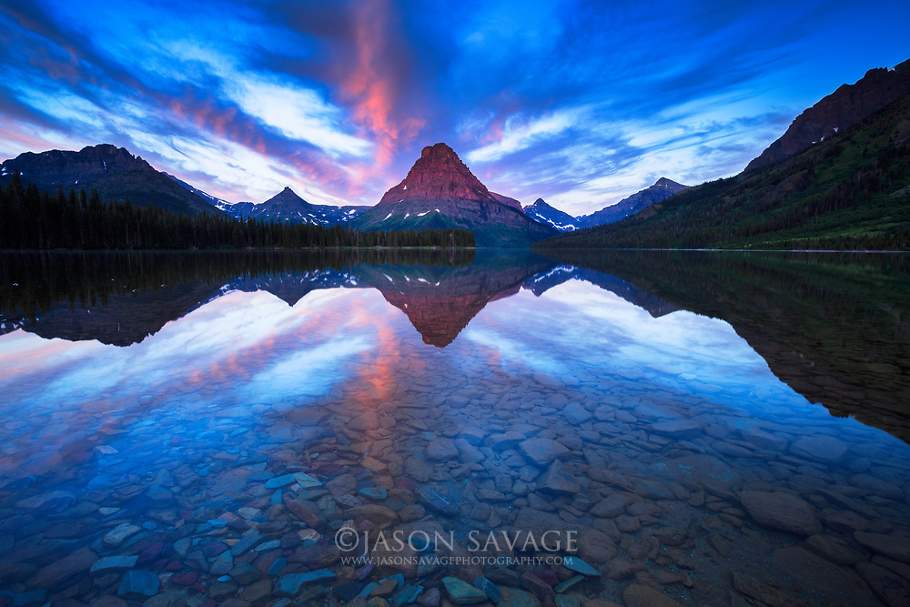Sunrise on Two Medicine Lake, Glacier National Park.