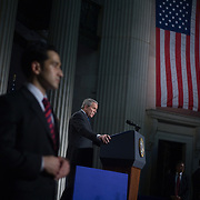 President George W.  Bush speaks on the economy at Federal Hall Wednesday, January 3, 2007, in New York.<br /> <br /> Khue Bui for Newsweek