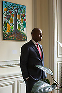 CLIENT: THE WASHINGTON POST<br /> <br /> On the eighth anniversary of the 2010 earthquake in Haiti, Paul Altidor, Haiti's ambassador to the United States, poses for a portrait in his office at the Haitian embassy in Washington D.C.