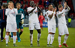 KAZAN, RUSSIA - Thursday, November 5, 2015: Liverpool's Lucas Leiva, Mamadou Sakho, Nathaniel Clyne and Alberto Moreno celebrate after the 1-0 victory over Rubin Kazan during the UEFA Europa League Group Stage Group B match at the Kazan Arena. (Pic by Oleg Nikishin/Propaganda)