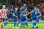 Rochdale captain Ian Henderson celebrates with goalscorer Callum Camps during the EFL Sky Bet League 1 match between Rochdale and Sunderland at the Crown Oil Arena, Rochdale, England on 20 August 2019.
