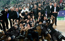 Players of Partizan celebrate after the final match of Basketball NLB League at Final four tournament between KK Union Olimpija (SLO) and Partizan Belgrade (SRB), on April 21, 2011 in Arena Stozice, Ljubljana, Slovenia. Partizan defeated Union Olimpija 77-74 and became NLB league Champion 2011.  (Photo By Vid Ponikvar / Sportida.com)