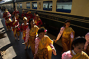 "Welcome ceremony for passengers boarding the Eastern and Oriental Express' ""Epic Thailand"" journey,at Hualumphong Station, Bangkok, Thailand"
