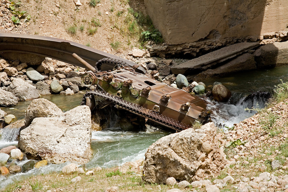 Military vehicle remains from civil war, central Tajikistan
