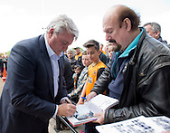 Hull City manager Steve Bruce signs autographs for fans before during the Sky Bet Championship Playoff Semi Final First Leg at the iPro Stadium, Derby<br /> Picture by Russell Hart/Focus Images Ltd 07791 688 420<br /> 14/05/2016