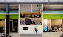 28-12-2010 SCHAATSEN: KPN NK ALLROUND EN SPRINT: HEERENVEEN<br /> De juryleden bij elkaar in het hokje boven de finishlijn<br /> ©2010-WWW.FOTOHOOGENDOORN.NL