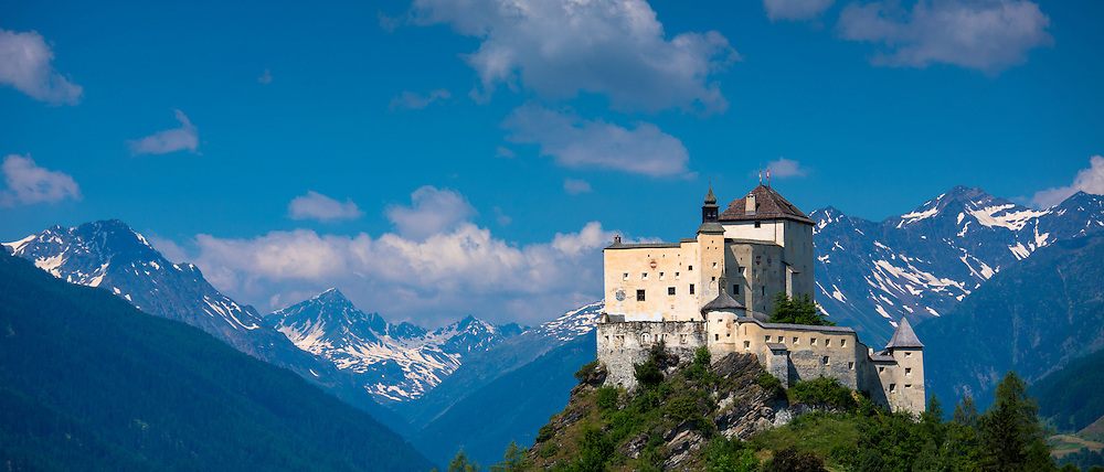 Tarasp Castle in the Lower Engadine Valley within the Swiss Alps, Switzerland