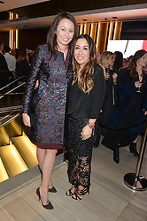 Left to right, CAROLINE RUSH Chief Executive of the British Fashion Council and SARAH CURRAN Managing Director Very Exclusive at the Veryexclusive.co.uk Launch Party held at Watches of Switzerland, 155 Regents Street, London on 20th February 2015.