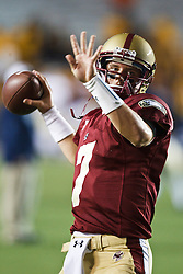October 2, 2010; Chestnut Hill, MA, USA;  Boston College Eagles quarterback Chase Rettig (7) warms up before the game against the Notre Dame Fighting Irish at the Alumni Stadium.