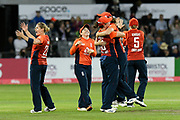 England win - Katherine Brunt of England celebrates as England beat Australia during the 3rd Vitality International T20 match between England Women Cricket and Australia Women at the Bristol County Ground, Bristol, United Kingdom on 31 July 2019.