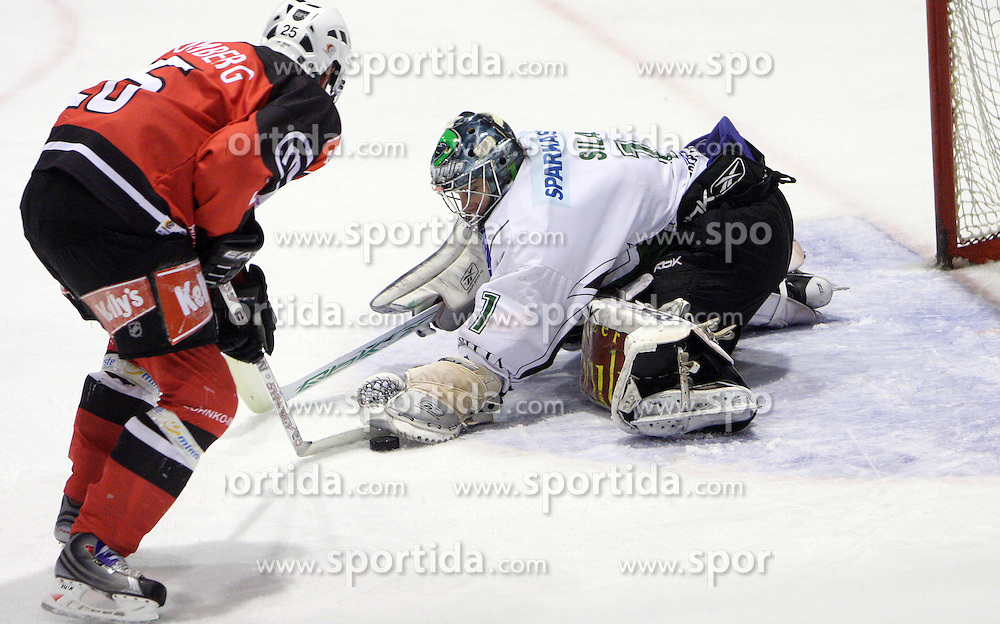 Conny Stromberg vs goalkeeper Ales Sila at 52nd round of EBEL league ice hockey match between HK Acroni Jesenice and HDD Tilia Olimpija, on January 29, 2009, in Podmezaklja, Jesenice, Slovenia. Acroni Jesenice won 5:3. (Photo by Vid Ponikvar / Sportida)