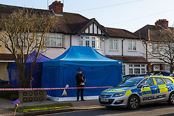 A police tent stands in front of the home of Nikolai Glushkov in South West London as police investigate what now appears to have been his muder. New Malden, London, March 16 2018.