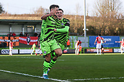 Forest Green Rovers Josh March(28) scores a goal 1-1 and celebrates with Forest Green Rovers Jack Aitchison(29), on loan from Celtic during the EFL Sky Bet League 2 match between Forest Green Rovers and Salford City at the New Lawn, Forest Green, United Kingdom on 18 January 2020.