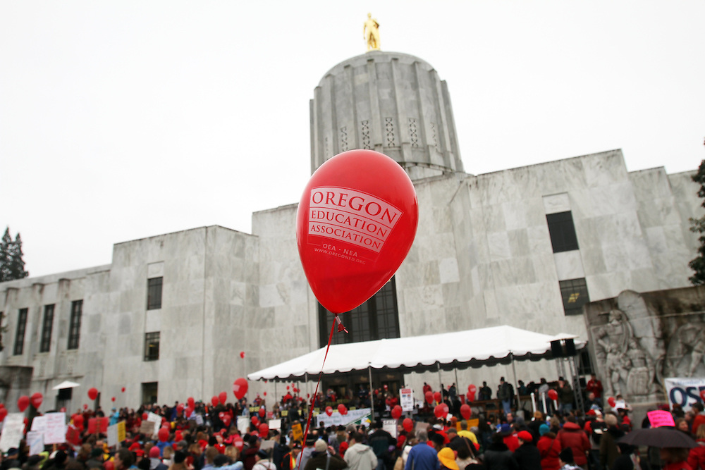 Hundreds of education supporters gather at the Oregon State Capitol for the Strong Oregon Day of Action. Photographed Monday, Feb. 20, 2012.