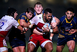 Taqele Naiyaravoro of Northampton Saints is tackled by Francois Venter, Ted Hill and Bryce Heem of Worcester Warriors - Mandatory by-line: Robbie Stephenson/JMP - 21/12/2018 - RUGBY - Sixways Stadium - Worcester, England - Worcester Warriors v Northampton Saints - Gallagher Premiership