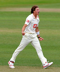Sussex's Matthew Hobden celebrates the wicket of Somerset's Johann Myburgh. - Photo mandatory by-line: Harry Trump/JMP - Mobile: 07966 386802 - 06/07/15 - SPORT - CRICKET - LVCC - County Championship Division One - Somerset v Sussex- Day Two - The County Ground, Taunton, England.
