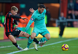 BOURNEMOUTH, ENGLAND - Sunday, November 25, 2018: AFC Bournemouth's David Brooks (L) and Arsenal's Sead Kolašinac during the FA Premier League match between AFC Bournemouth and Arsenal FC at the Vitality Stadium. (Pic by David Rawcliffe/Propaganda)