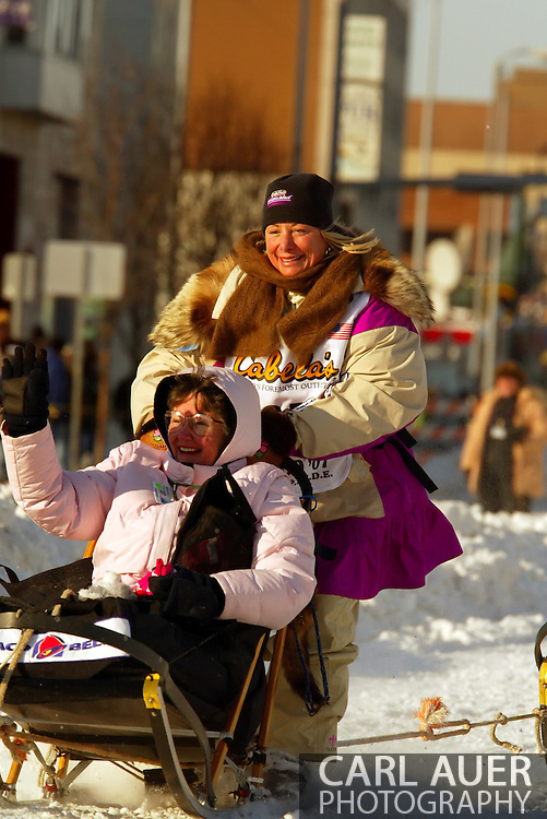 3/3/2007:  Anchorage Alaska -  Brest cancer survivor and 2006 Iron Man Hawaii participant Veteran DeeDee Jonrowe of Willow, AK during the Ceremonial Start of the 35th Iditarod Sled Dog Race