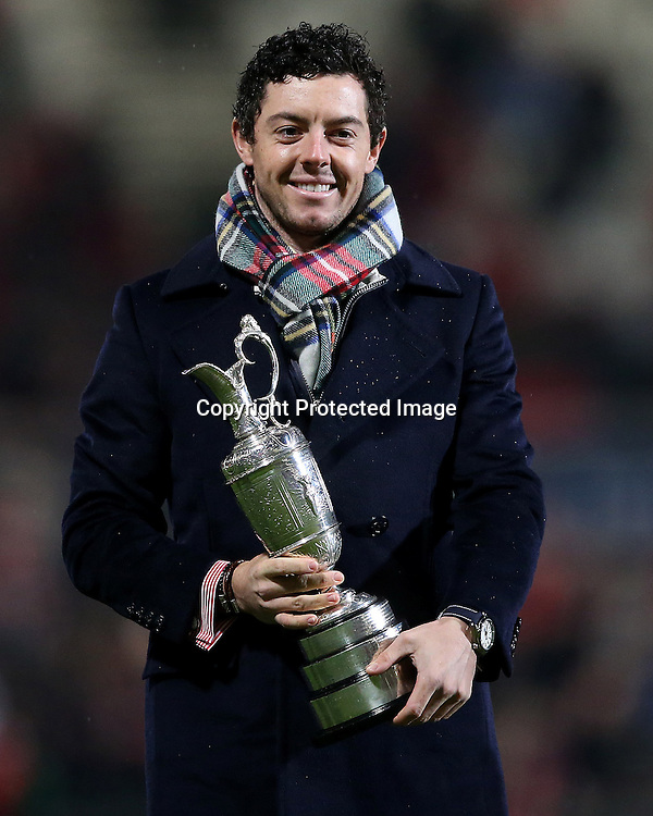Guinness PRO12, Kingspan Stadium, Belfast 26/12/2014<br /> Ulster vs Connacht<br /> Golfer Rory McIlroy at half time<br /> Mandatory Credit &copy;INPHO/James Crombie