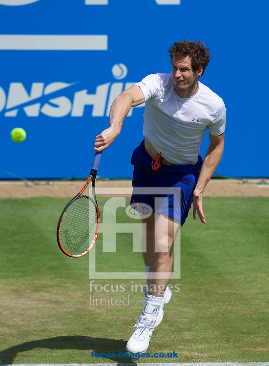 Andy Murray practicing before his second round singles match in the Aegon Championships at the Queen's Club, West Kensington<br /> Picture by Alan Stanford/Focus Images Ltd +44 7915 056117<br /> 18/06/2015