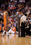 Mar. 21 2010; Phoenix, AZ, USA; Phoenix Suns head coach Alvin Gentry pushes back Phoenix Suns forward Amare Stoudemire (1) in the second half at the US Airways Center. The Suns defeated the Trail Blazers 93 to 87. Mandatory Credit: Jennifer Stewart-US PRESSWIRE.