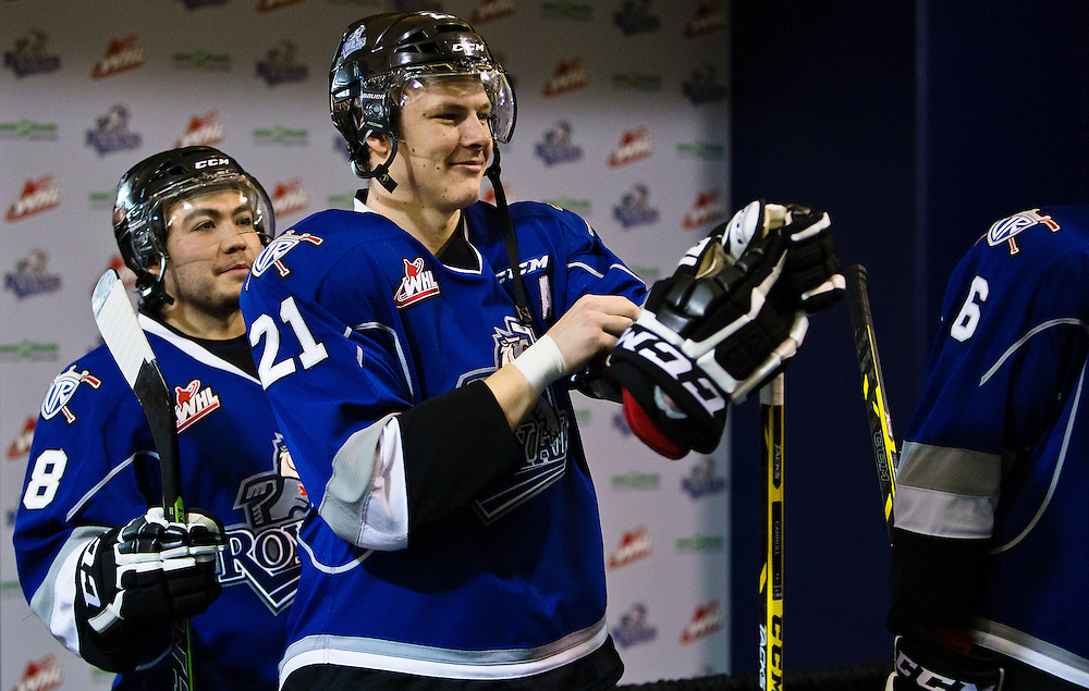 VICTORIA B.C. - NOVEMBER 19:  The Victoria Royals and Kelowna Rockets of the Western Hockey League square off at the Save-On-Foods Memorial Centre on November 19th, 2014 in Victoria, British Columbia, Canada. (Photo by Kevin Light/Victoria Royals)