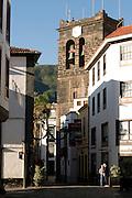 Pedestrian zone in Santa Cruz de La Palma with the cathedral, La Palma, Canary island,Spain