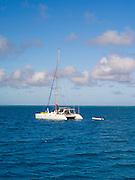 A catamaran at anchor in the lagoon at Lady Musgrave Island, QLD, Australia
