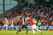 Mihai Popescu of St Mirren & George Oakley show how much they want every ball as they battle for position during the Ladbrokes Scottish Premiership match between St Mirren and Hamilton Academical FC at the Paisley 2021 Stadium, St Mirren, Scotland on 13 May 2019.