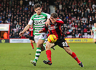 Picture by Tom Smith/Focus Images Ltd 07545141164<br /> 26/12/2013<br /> Ryan Fraser (right) of Bournemouth and Joe Edwards (left) of Yeovil Town battle for the ball during the Sky Bet Championship match at the Goldsands Stadium, Bournemouth.