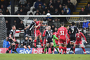 Action in Morecambe goal area during the EFL Sky Bet League 2 match between Grimsby Town FC and Morecambe at Blundell Park, Grimsby, United Kingdom on 15 February 2020.