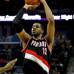 January 16, 2012; New Orleans, LA, USA; Portland Trail Blazers power forward LaMarcus Aldridge (12) shoots against the New Orleans Hornets during the fourth quarter of a game at the New Orleans Arena. The Trail Blazers defeated the Hornets 84-77.  Mandatory Credit: Derick E. Hingle-US PRESSWIRE