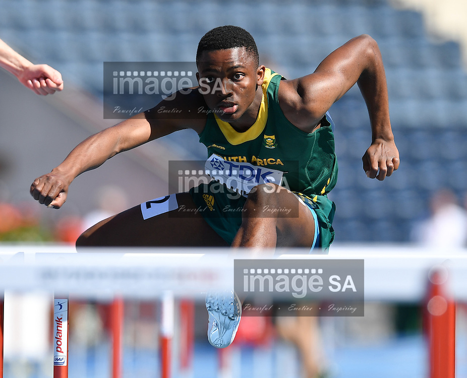 BYDGOSZCZ, POLAND - JULY 20: Thabo Maganyele of South Africa in the mens 110m hurdles during the morning session on day 2 of the IAAF World Junior Championships at Zawisza Stadium on July 20, 2016 in Bydgoszcz, Poland. (Photo by Roger Sedres/Gallo Images)