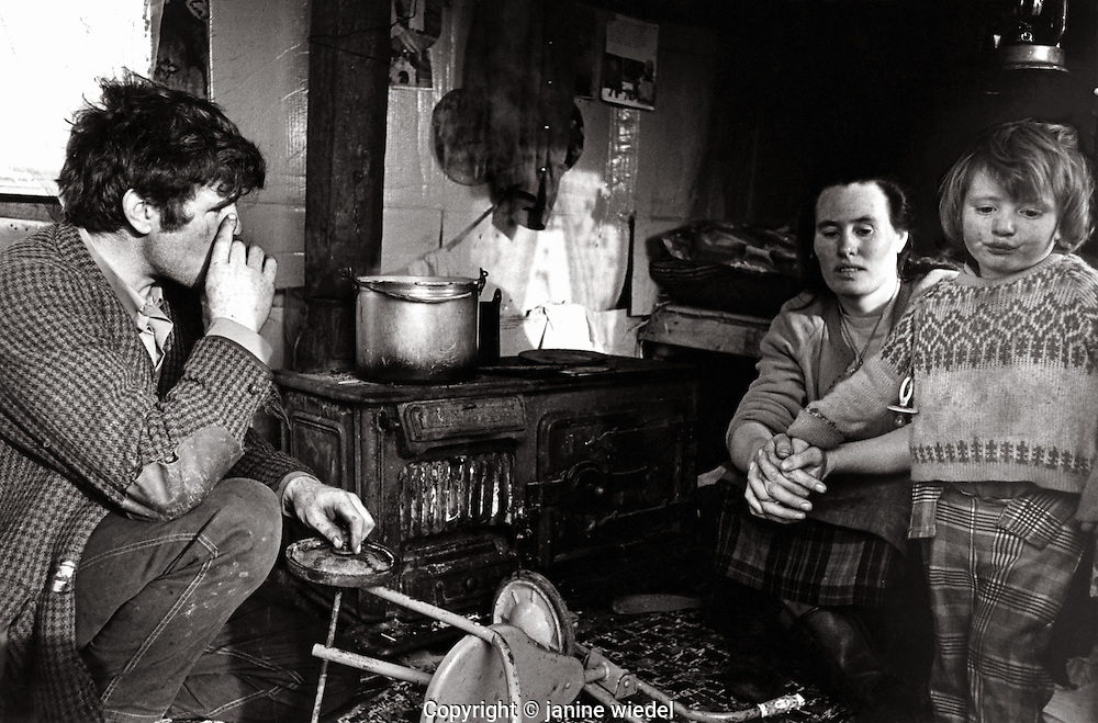 Irish Tinker / Traveller family in temporary house in Southern Ireland in the 1970's.