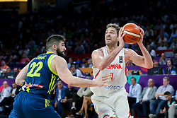 Ziga Dimec of Slovenia vs Pau Gasol of Spain during basketball match between National Teams of Slovenia and Spain at Day 15 in Semifinal of the FIBA EuroBasket 2017 at Sinan Erdem Dome in Istanbul, Turkey on September 14, 2017. Photo by Vid Ponikvar / Sportida