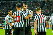 Kenedy (#15) of Newcastle United congratulates Ayoze Perez (#17) of Newcastle United on scoring Newcastle United's first goal during the Premier League match between Newcastle United and Watford at St. James's Park, Newcastle, England on 3 November 2018.