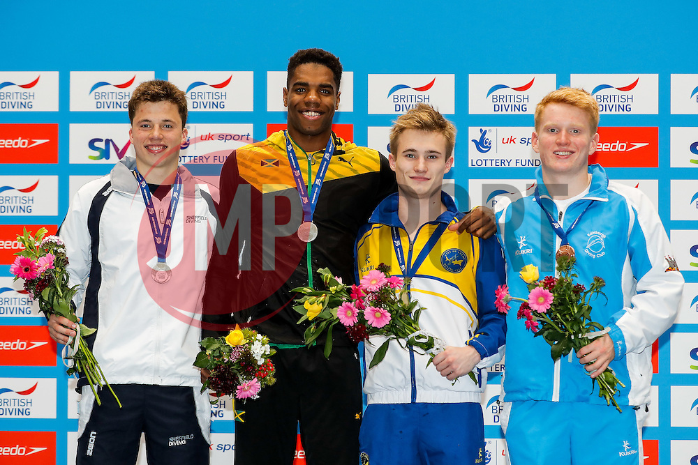 Podium for the Mens 3m Springboard Final. L-R silver medallist Freddie Woodward from City of Sheffield Diving Club, Guest Silver medal Yona Knight-Wisdom from City of Leeds Diving Club and Jamaica (Guest), Gold medallist Jack Laugher from City of Leeds Diving Club, and Bronze medallist James Heatly of Edinburgh Dive Club - Mandatory byline: Rogan Thomson/JMP - 11/06/2016 - DIVING - Ponds Forge - Sheffield, England - British Diving Championships 2016 Day 2.