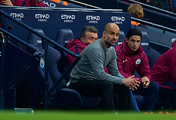 MANCHESTER, ENGLAND - Saturday, April 7, 2018: Manchester City's manager Pep Guardiola during the FA Premier League match between Manchester City FC and Manchester United FC at the City of Manchester Stadium. (Pic by David Rawcliffe/Propaganda)
