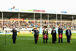 Exeter Chiefs Director of Rugby Rob Baxter and owner Tony Rowe during the act of Remembrance before kick off - Rogan/JMP - 10/11/2019 - RUGBY UNION - Sandy Park - Exeter, England - Exeter Chiefs v Bristol Bears - Gallagher Premiership.