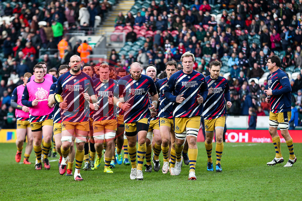 Jordan Crane (capt) of Bristol Rugby leads his side in from the warm up - Rogan Thomson/JMP - 18/02/2017 - RUGBY UNION - Welford Road Stadium - Leicester, England - Leicester Tigers v Bristol Rugby - Aviva Premiership.