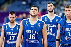 Evangelos Mantzaris of Greece, Kostas Papanikolaou of Greece, Georgios Papagiannis of Greece and Dimitrios Agravanis of Greece look dejected after the basketball match between National Teams of Slovenia and Greece at Day 4 of the FIBA EuroBasket 2017 at Hartwall Arena in Helsinki, Finland on September 3, 2017. Photo by Vid Ponikvar / Sportida
