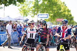 Coryn Rivera (USA) of Team Sunweb and Katarzyna Niewiadoma (POL) of CANYON//SRAM Racing Team chat before Stage 1 of the Amgen Tour of California - a 124 km road race, starting and finishing in Elk Grove on May 17, 2018, in California, United States. (Photo by Balint Hamvas/Velofocus.com)